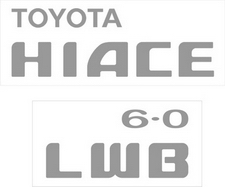 Toyota Hiace LWB 6.0 sticker set (tailgate)