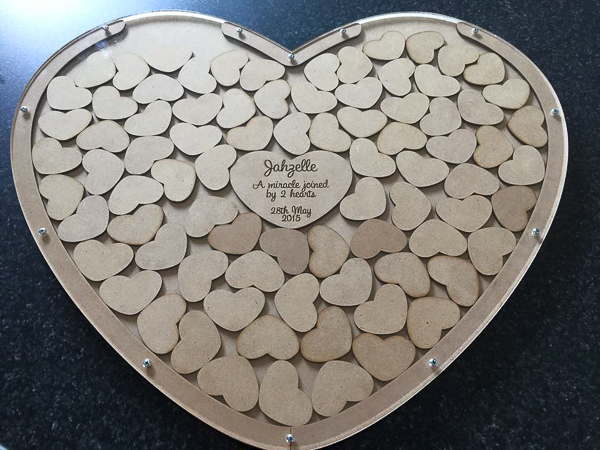 mfd/acrylic heart guestbooks
